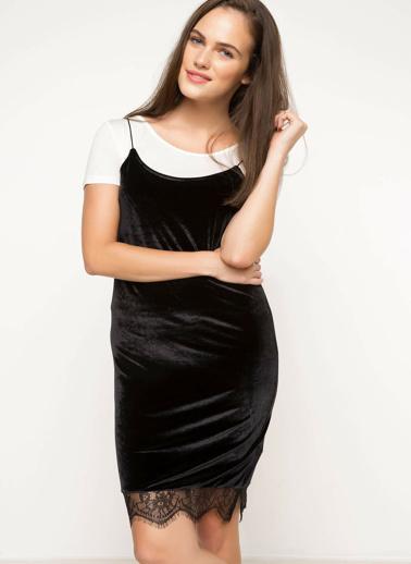 DeFacto Askılı Dantel Detaylı Elbise Siyah